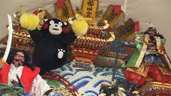 復興祈願し「がんばろう熊本」の飾り山 博多山笠