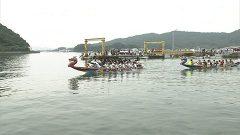 天草五橋祭 白龍船競漕大会で熱戦