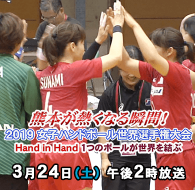 熊本が熱くなる瞬間(とき)! 2019 女子ハンドボール世界選手権大会~Hand in Hand 1つのボールが世界を結ぶ~