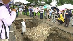 人吉市庁舎跡地の発掘調査現場が一般公開