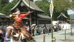 阿蘇神社の田実祭で3年ぶりの流鏑馬
