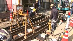 熊本電鉄が枕木の交換と設置作業開始