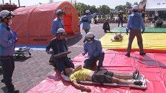 女子ハンド世界選手権を前に本格的消防訓練